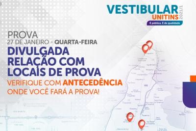 Candidatos inscritos no Vestibular Unitins 2021/1 já podem conferir os locais de prova
