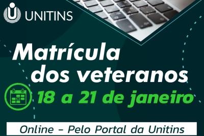 Aberto período de matrículas para acadêmicos veteranos da Unitins