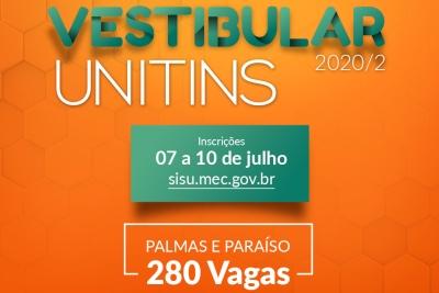 Inscrições abertas para 280 vagas na Unitins para ingresso no semestre 2020/2 via Sisu